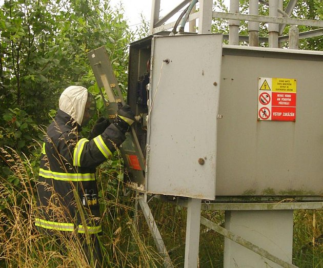 Suchdolští hasiči při odklízení vosího hnizda.