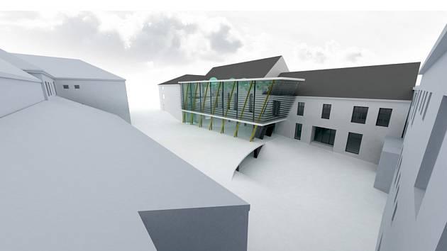 Vizualizace rekonstrukce kulturního zařízení Beseda Dačice.