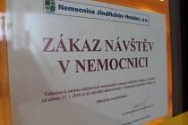 Také v jindřichohradecké nemocnici platí kvůli chřipce stále zákaz návštěv.