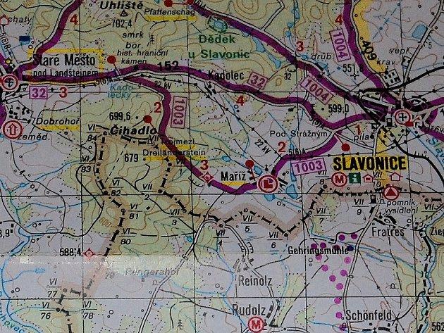 Mapa Slavonice - Maříž