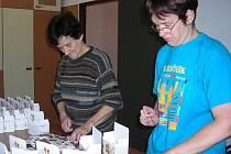 Klientky Domova Pístina pracují v chráněných dílnách, které jim sjednávají náplň práce, jako je například na snímku balení porcovaných čajů.