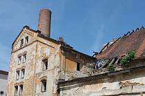 Vyhořelý pivovar v Jindřichově Hradci.