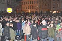 Novoroční ohňostroj v J. Hradci.