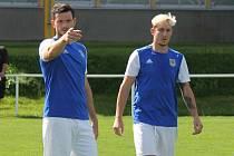 Třeboňští fotbalisté Karel Holzepl (vlevo) a Leoš Hromádka.