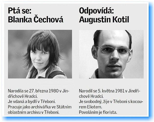 Archivářka Blanka Čechová se ptala floristy Augustina Kotila.