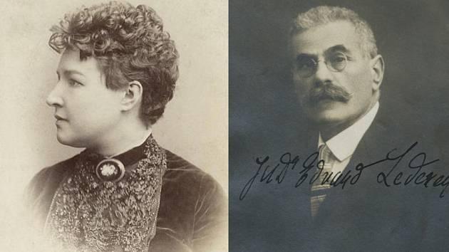 Podobizny herečky Adély Volfové a doktora práv Edvarda Lederera.