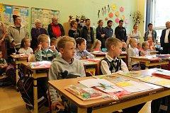 První školní den v 1. A a v 1. B na 1. základní škole v Jindřichově Hradci.