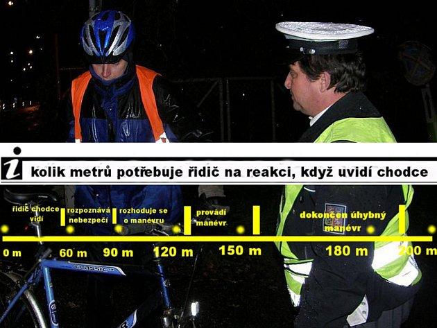Na bezpečný vyhýbací manévr potřebuje řidič asi 200metrů, včas uvidí pouze postavu sreflexními prvky.
