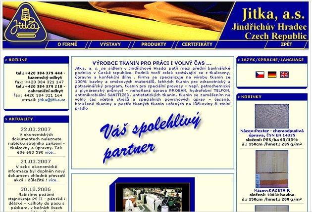 Webové strýnky textilní továrny.