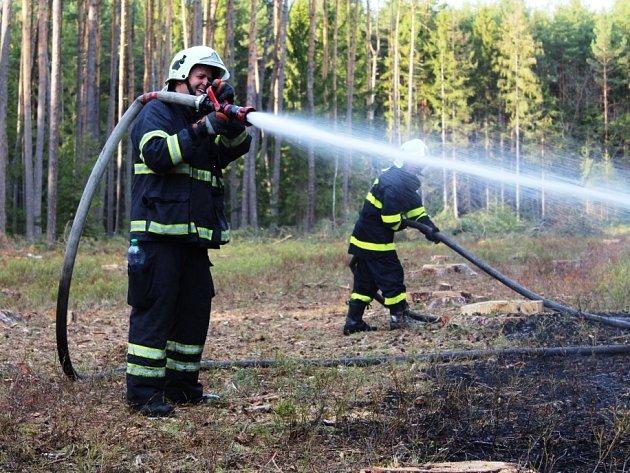 """PLAMENY VYŠLEHLY ve středu odpoledne z lesa u Plavska. Na místě zasahovalo hned několik hasičských jednotek. Na snímku jsou """"v akci"""" dobrovolní hasiči z Jindřichova Hradce."""