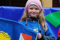 Orientační běžkyně Slovanu J. Hradec Anna Hrdličková  nenašla v 9. kole Ligy Vysočiny v kategorii dívek do 10 let přemožitelku.
