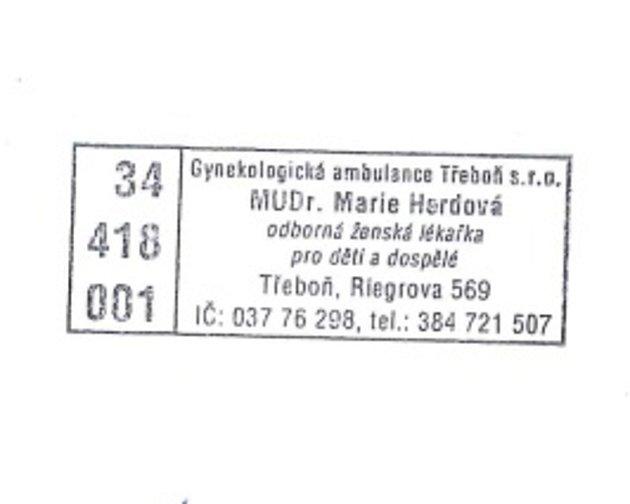 Zambulance třeboňské gynekologie neznámý pachatel odcizil orazítkované recepty. Lékárníci by si na tato razítka měli dát pozor a informovat policii.