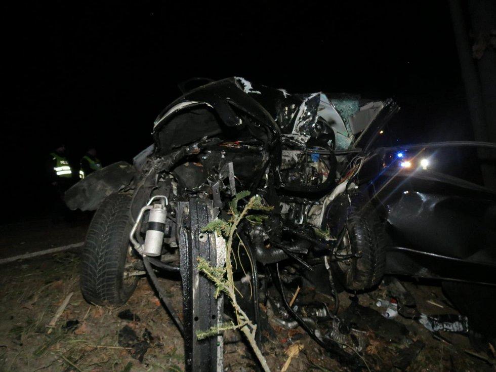 Devatenáctiletý řidič vozu s rakouskou poznávací značkou nepřežil náraz do stromu asi kilometr od Majdaleny.