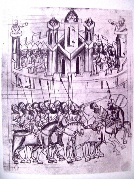 OBLÉHÁNÍ MĚSTA – vyobrazení z Velislavovy bible.