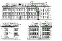 Návrh přístavby ke školní budově ZŠ Komenského v Dačicích.