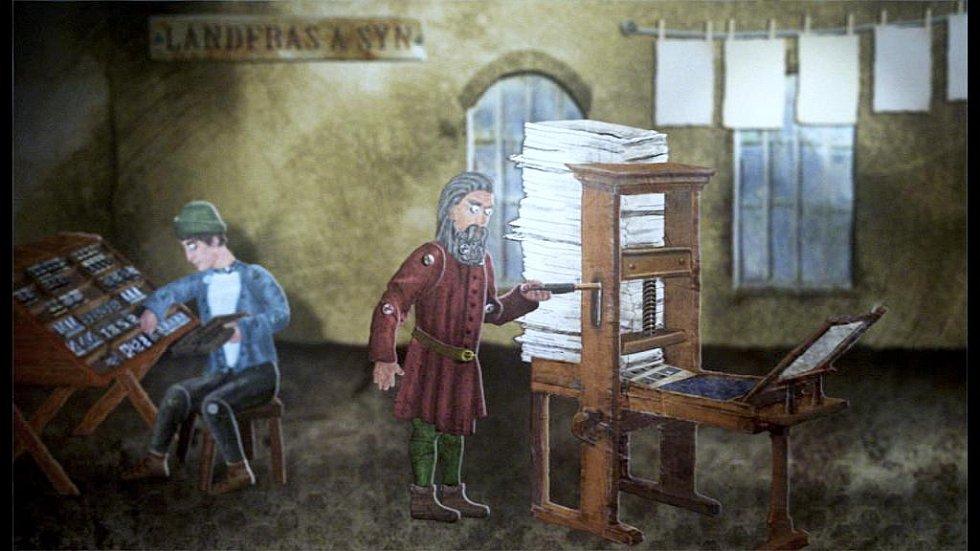 Snímek z animovaného filmu Historie Jindřichova Hradce v animační zkratce.