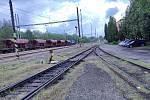 Jindřichohradecké vlakové nádraží. Úzkorozchodná trať.