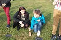 Źáci v Kunžaku vysadili u školy krokusy jako připomínku dětských obětí holocaustu.