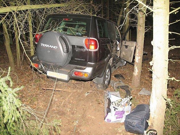 Na křižovatce u kuniferu v Jindřichově Hradci projela řidička kvůli nepozornosti rovně rovnou do lesa.