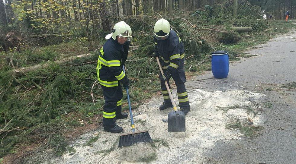 Profesionální hasiči z Jindřichova Hradce se v neděli nezastavili. Mimo jiné odstraňovali stromy spadlé na chaty v Jindřiši.