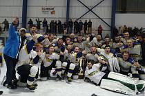 Hokejisté jindřichohradeckého Vajgaru zvítězili ve finále krajské ligy nad Veselím nad Lužnicí 6:5 po nájezdech a slaví překvapivý triumf v soutěži.