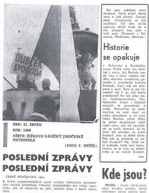 Co psala Jihočeská pravda? Snímky Františka Hešíka.