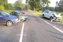 Srážka tří aut u Potočné.