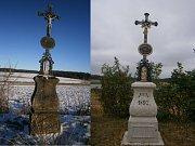 Švějdův kříž v Hříšici před a po rekonstrukci.