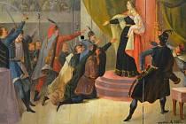 Malovaný ostrostřelecký terč ze sbírek Muzea Jindřichohradecka připomíná Marii Terezii na Uherském sněmu v roce 1741.