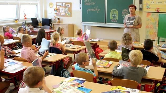 První školní den v základní škole B. Němcové v Dačicích.