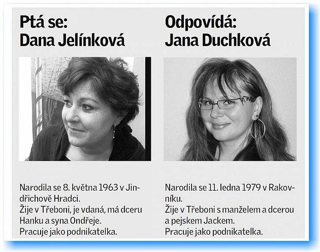 Dana Jelínková se ptá Jany Duchkové.