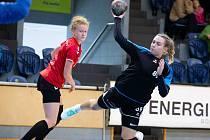 Sabina Jasanská (s míčem) zaznamenala v 15 duelech 71 gólů, což jí zařadilo na desáté místo mezi prvoligovými kanonýrkami.