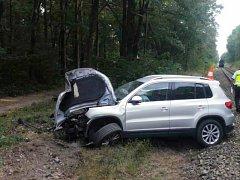Na železničním přejezdu u Gigantu v Třeboni se srazilo osobní auto s vlakem. f