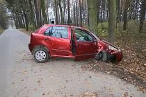 U Pluhova Žďáru narazilo auto do stromu. Řidič utrpěl zranění.