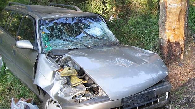 Pohled na havarované auto v sobotu u Hospříze.