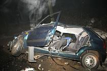 Pohled na zcela zdemolovanou felicii, která se čelně srazila u Děbolína na Jindřichohradecku s kamionem. Řidič i jeho pes zraněním na místě podlehli.