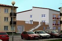 Vizualizace příštavby domu s pečovatelskou službou v Dačicích.