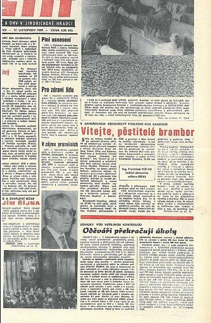 Štít 17.listopadu 1989 - strana 1.