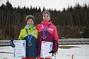 V třetím kole Českého poháru žactva obsadili ve sprintu třetí příčku Lenka Bártová a  Ondřej Poledník z Klubu biatlonu Staré Město pod Landštejnem.