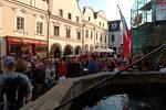 Demonstrace proti okupaci sovětskými vojsky v Třeboni.
