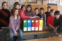 Žáci 7. A Základní školy ve Slavonicích (na snímku) se umístili v projektu Recyklohraní na 3. místě v celé republice.