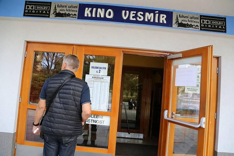 Na krajské a senátní volby čekali před kinem Vesmír v Pelhřimově zájemci už před druhou hodinou.