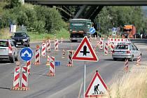 Oprava silnice u Humpolce.