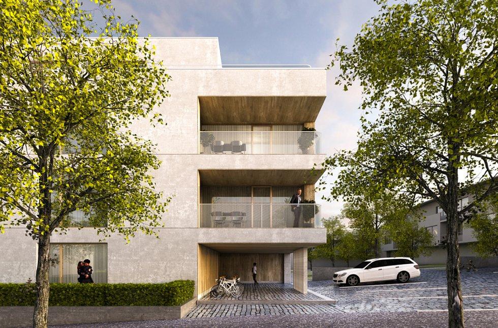 Vítězný návrh budoucího bytového domu. Vizualizace: poskytlo Město Humpolec