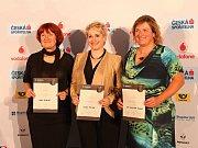 Zleva: Hana Pacalová, Helena Pudilová a Eva Stoklásková Hegerová. Krajské kolo soutěže Vodafone Firma roku a Česká spořitelna Živnostník roku