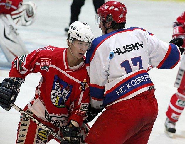 Z hokejového utkání Spartak Pelhřimov - Kobra Praha.