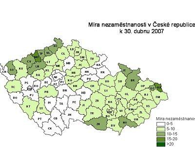 Míra nezaměstnanosti v České Republice k 30. dubnu 2007