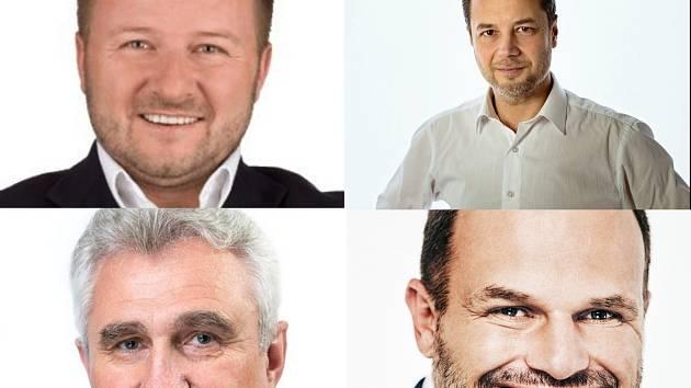 Na Žďársku kandidují Josef Klement (vpravo nahoře) a Michal Šmarda (vpravo dole). Na Pelhřimovsku Milan Štěch (vlevo dole) a Jaroslav Chalupský (vlevo nahoře).