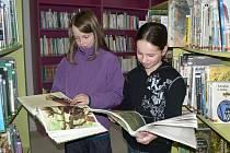 Městskou knihovnu v Pacově využívají o poledních pauzách stále častěji děti. Na snímku jsou dívky Erika Bajarčuková (vlevo) a Michaela Kozáková.
