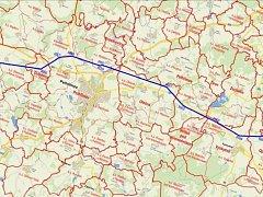 Dráty míjí Křeč, pak Obrataň a Kámen a kolem Nové Cerekve pokračují k Radětínu u Pelhřimova a dál k Olešné a Vyskytné.